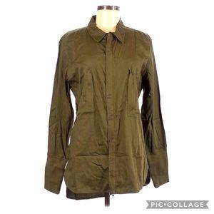 Nicholas K Khaki Green Button Up Blouse